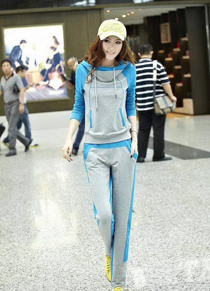 Casual Fleece Thick Hooded Long Sleeve Hoodie + Pants Women's Sports Suit