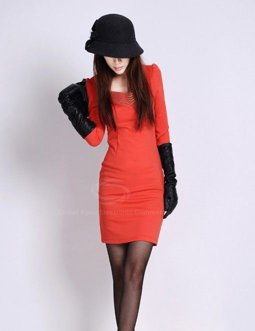 Elegant Slim-Fit Solid Color Zipper Design V-Neck Long Sleeves Women's Dress