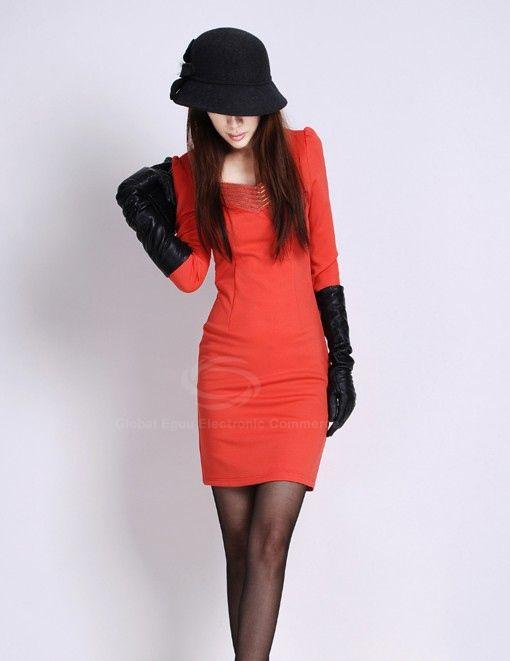 Elegant Slim-Fit Solid Color Zipper Design V-Neck Long Sleeves Women's Dress