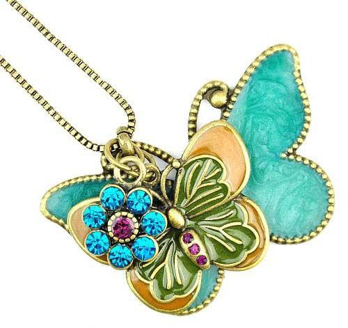 Vintage Double Butterfly Design Rhinestone Embellished Sweater Chain