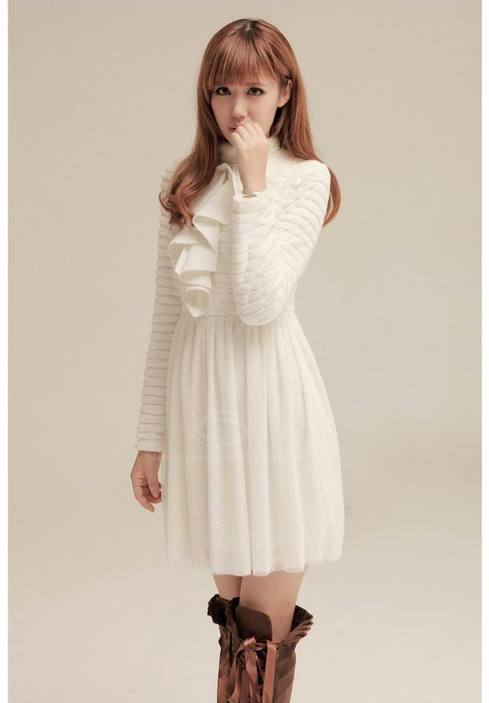Ladylike Flounce Design Dot Net Yarn Splicing High Collar Long Sleeves Women's White Dress