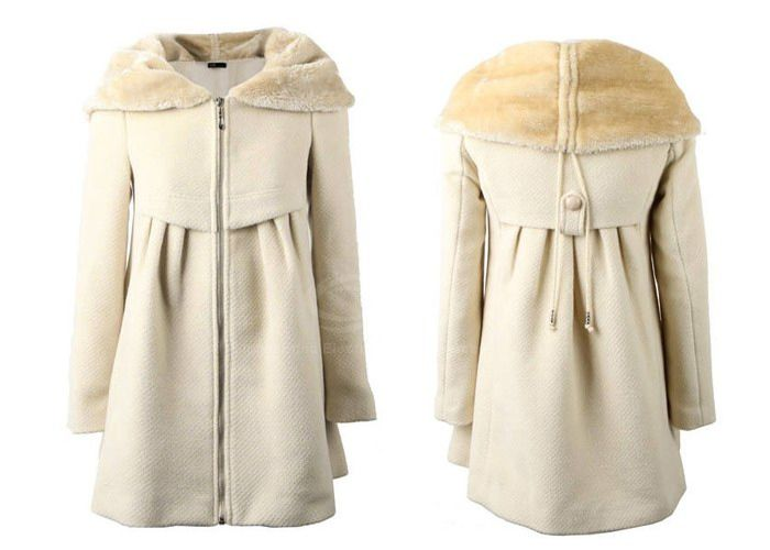 Elegant Style Faux Fur Splicing Lapel Long Sleeve Cotton Blend Worsted Women's Pleated Coat