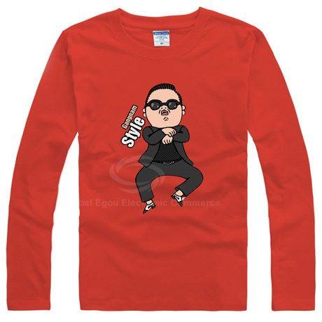 Hot Gangnam Style Standard PSY Horse Dance Long Sleeve Women's Cotton T-Shirt Unisex T-Shirt