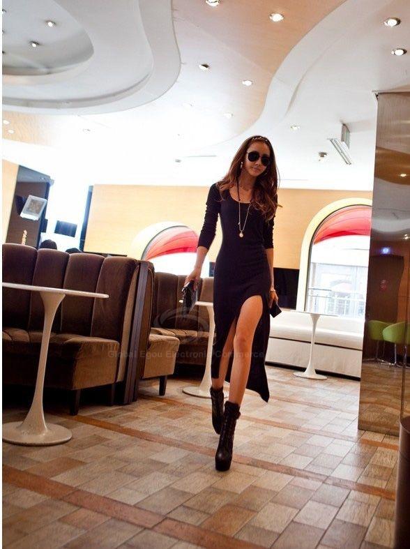New Women's Long Sleeve Slim Irregular Asymmetric Sexy Long Dress
