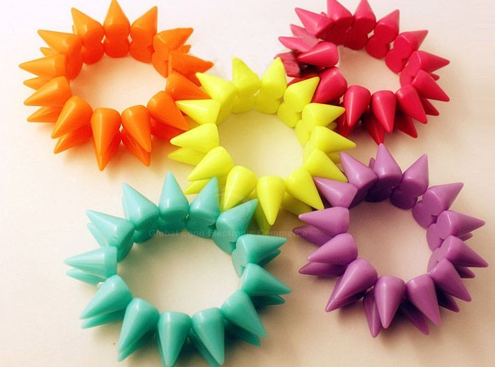 Punk Style Color Block Bistratal Fluorescence Stud Embellished Bracelet For Women