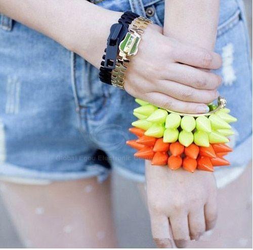 Punk Style Color Block Bistratal Fluorescence Stud Embellished Bracelet For Women