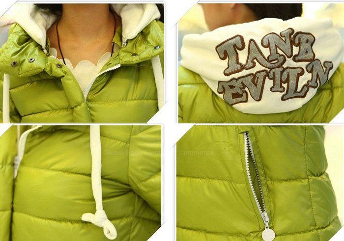 Laconic Multicolor Zipper Design Hooded Long Sleeves Women's Down Jacket