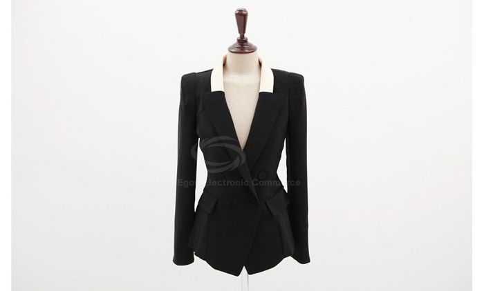 Elegant Lapel Color Block Long Sleeves Slimming Fitted Dacron Women's Blazer