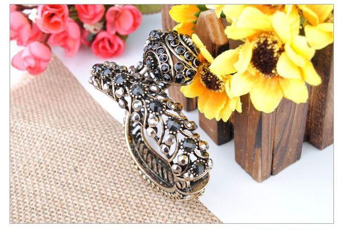 Retro and Punk Style Snake Shape Rhinestone Gemstone Inlaid Bronze Bracelet For Women