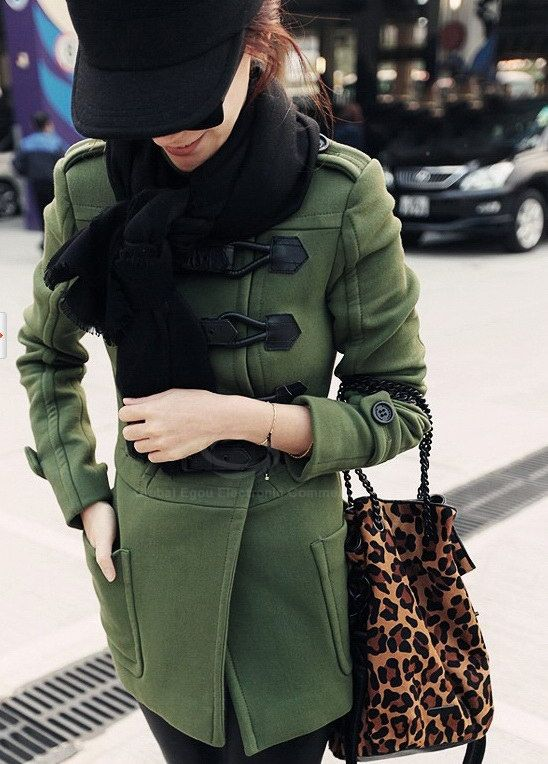 Chic Double-Breasted Stand Collar Long Sleeves Women's Army Green Coat