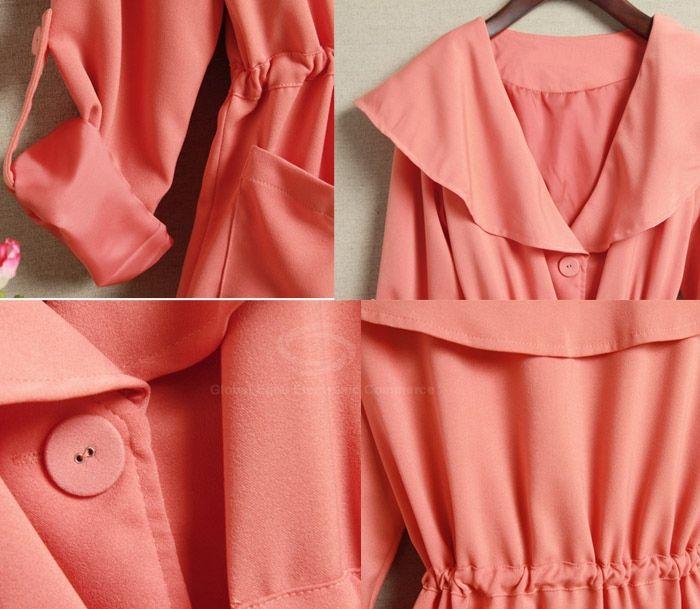 Slimming Large Turndown Collar Drawstring Women's Coat