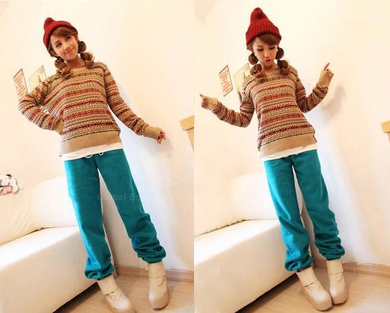 Casual Loose-Fit Solid Color Women's Imitate Fleece Sports Pants
