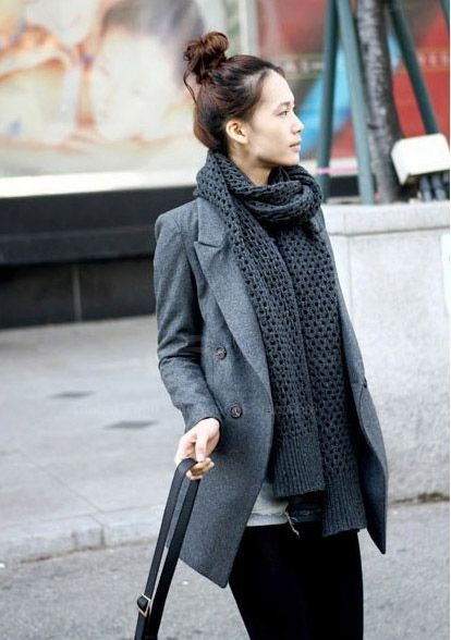Elegant Solid Color Lapel Collar Long Sleeve Double-Breasted Wool Blends Women's Blazer