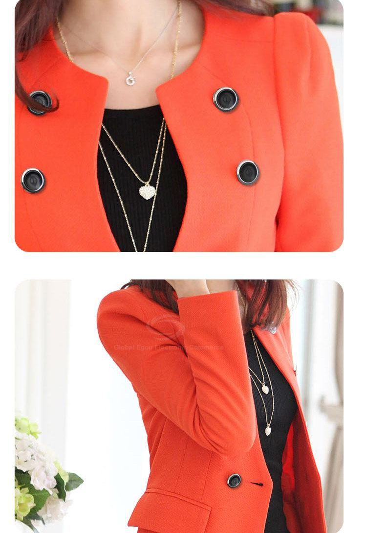 Stylish Scoop Neck Long Sleeve Double-Breasted Solid Color Women's Coat