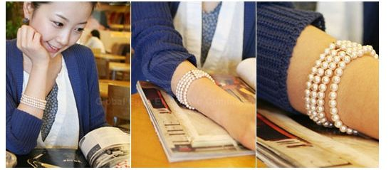 Faux Pearl Three-layered Design Bracelet