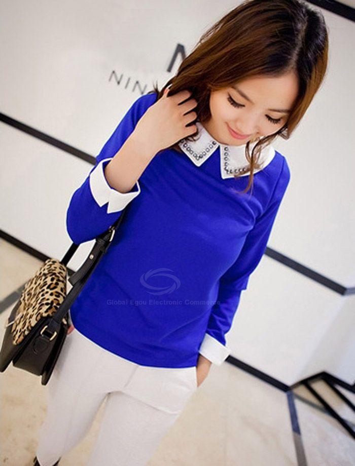 Refreshing Studded White Cuff and Turndown Collar Long Sleeves Women's Shirt