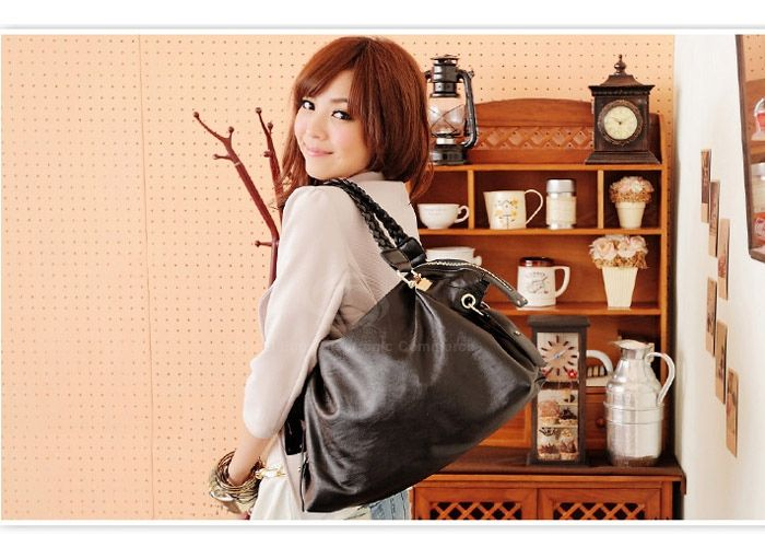 Laconic Stylish Casual Solid Color Metal and Weaving Design Women's Tote Bag