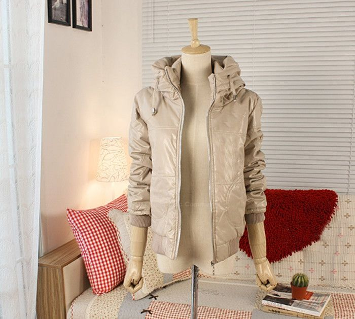 Stylish Stand-Up Collar Long Sleeve Solid Color Glossy Surface Women's Coat