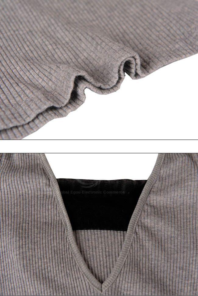 Casual Style Leopard Pocket Backless Long Sleeve Cotton Blend Women's Long T-Shirt