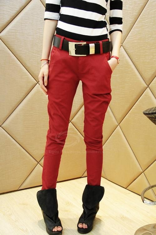 Casual Fashionable Style Slimming Solid Color Cotton Blend Women's Harem Pants With Belt