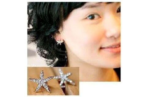 Pair of Rhinestoned Star Shape Stud Earrings