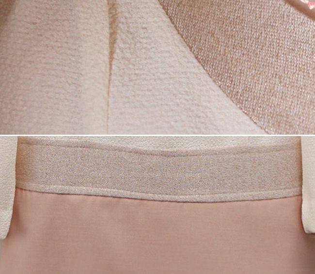 Ramie Splicing Narrow Waist Princess Sleeve Women's Dress