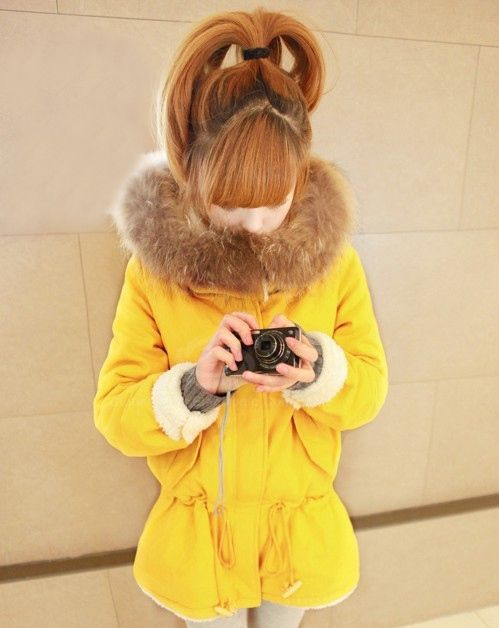Sweet Fashionable Hooded Waist Drawstring Zipper Design Solid Color Long Sleeve Women's Coat