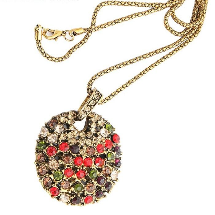 Fashion Retro Style Colorful Rhinestone Embellished Sweater Chain For Women