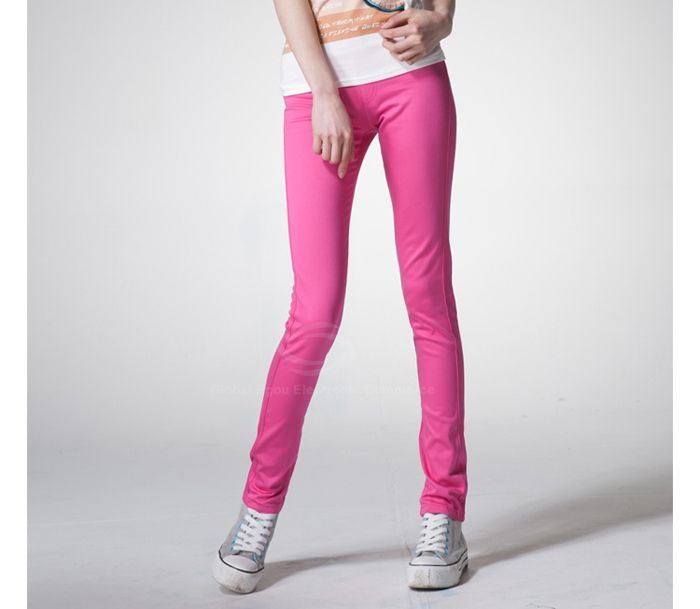 Elastic Waist Stretch Candy Color Women's Pencil Pants