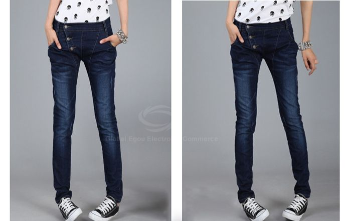 Modern Style Slimming Elastic Inclined Closure Design Jeans Women's Pencil Pants