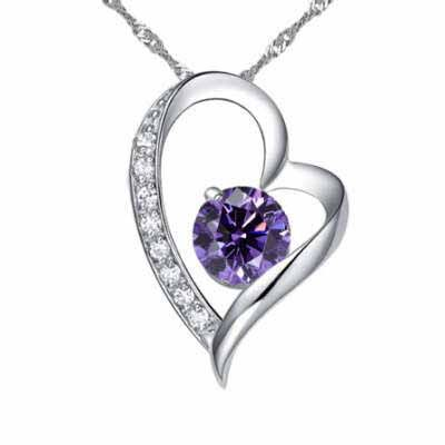 Fashion Ladylike Style Openwork Heart-shaped Purple Crystal Ball Embellished Pendant