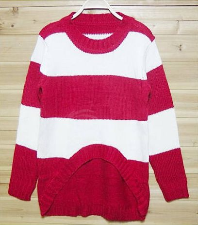 Asymmetrical Hem Stripes Color Matching Women's Sweater