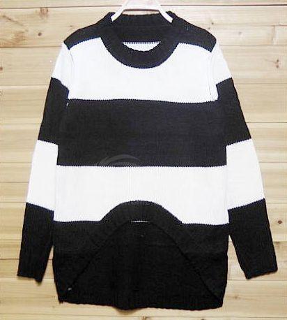 Asymmetrical Hem Stripes Color Matching Women's Sweater