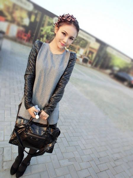 Stylish Round Collar Leather Splice Slimming Long Sleeve Woolen Blend Women's Dress