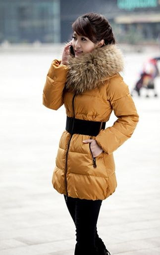Casual Stand Neck Plus Size Faux Fur Collar Long Sleeves Thicken Warm Eiderdown Women's Coat