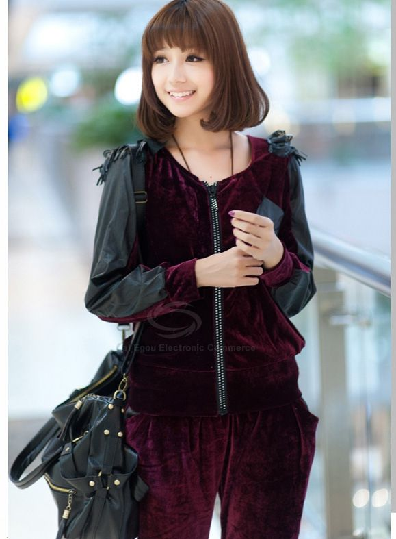 Casual Style Scoop Neck Faux Leather Splicing Long Sleeve Pleuche Women's Suit