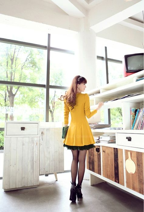 Ladylike Scoop Neck Slimming Lace-Up Long Sleeved Women's Dress