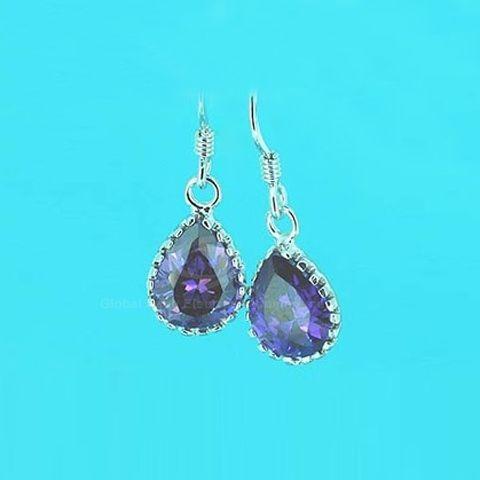 Exquisite Ladylike Style Waterdrop Shape Crystal Embellished Earrings For Women