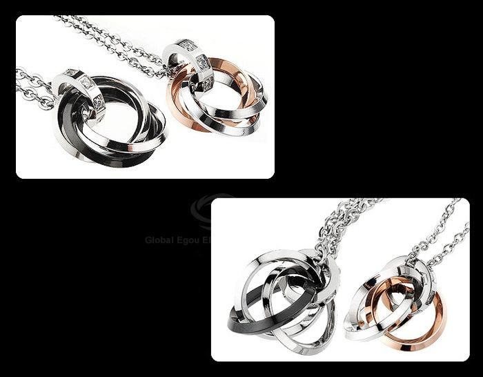 Hot Sale Delicate Style Multi-Layered Annulus Shape Rhinestone Inlaid Necklace For Couples