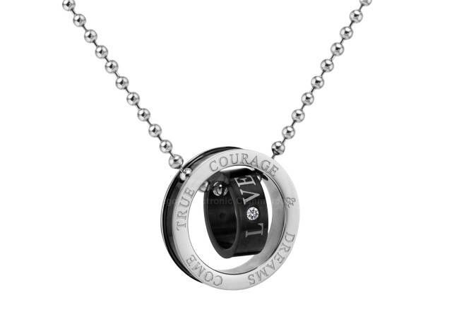 Retro Style Double Ring Letter Print and Rhinestone Inlaid Pendant Necklace For Couples