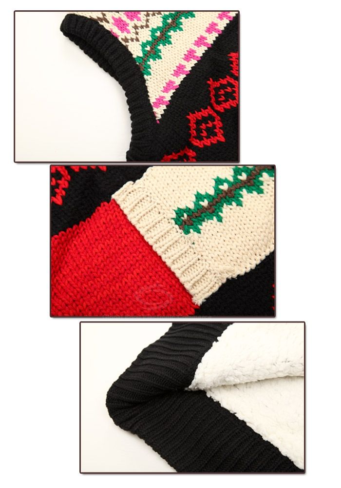 Winter Fashion Color Block Jacquard Hooded Women's Christmas Waistcoat With Warm and Fluffy Lining