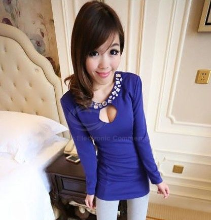 Sexy Scoop Neck Long Sleeve Solid Color Rhinestone Embellished Women's Dress