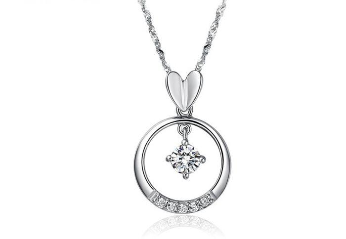 Elegant Style 46CM Length Ring and Heart Shape Rhinestone Inlaid Pendant Necklace For Women