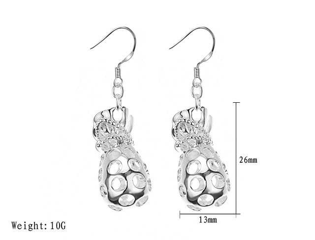 Graceful Style Openwork Coin Bag Shape Pendant Women's Earrings