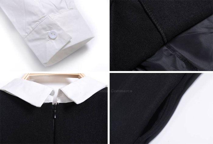 Casual Lapel Collar Splicing Faux Twinset Wool Blends Women's Dress