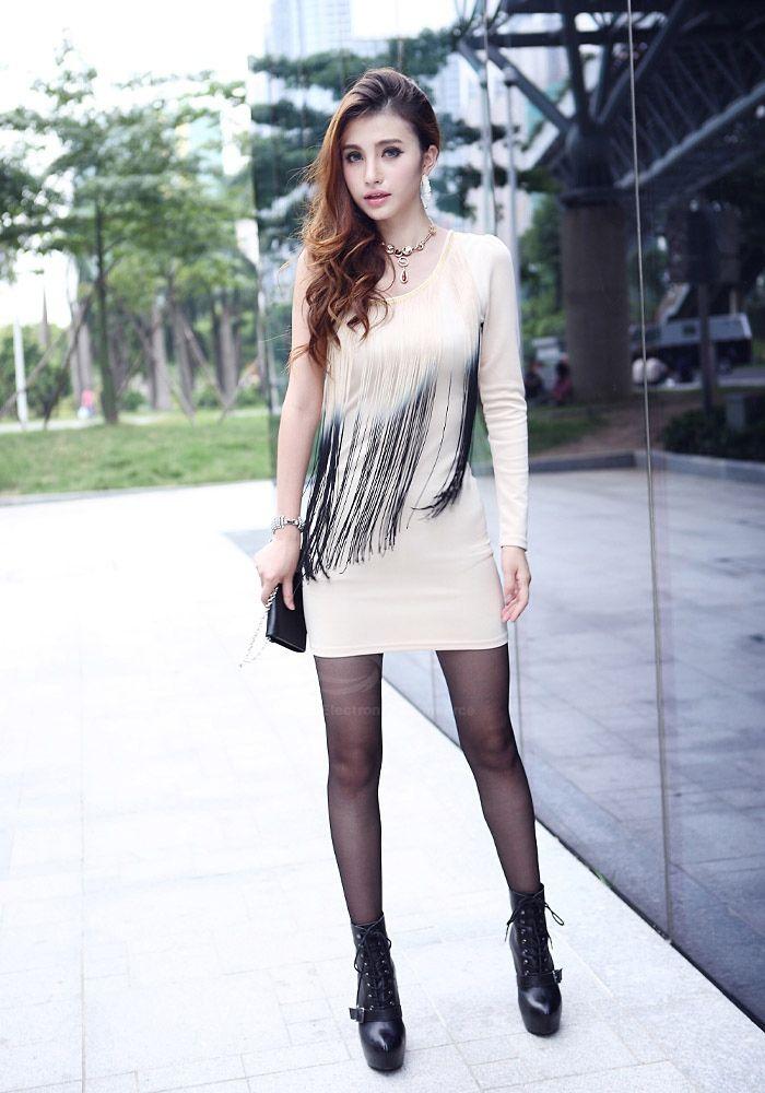 Sexy One Shoulder Ombre Fringe Splice Slimming Long Sleeve Milk Silk Women's Club Dress