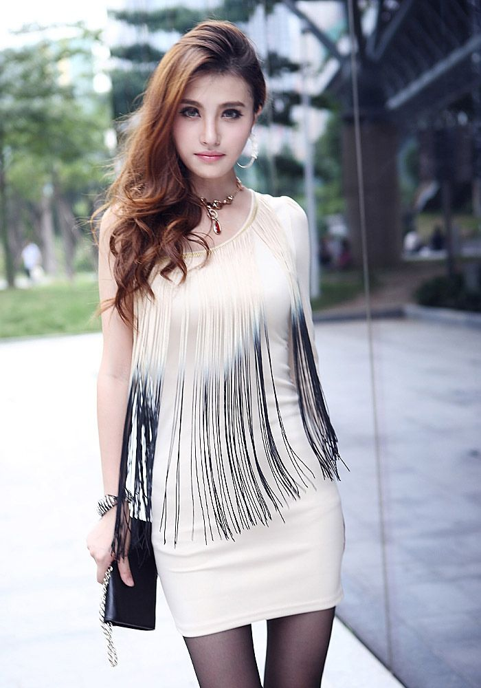 Sexy One Shoulder Ombre Fringe Splice Slimming Long Sleeve Milk Silk Women's Club Dress