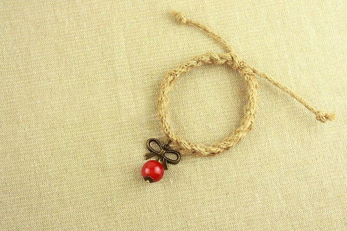 Vintage Bowknot Pendant Handmade Hemp Rope Bracelet