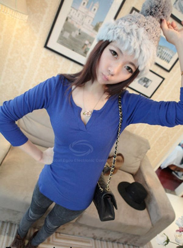 Slimming V Neck Long Sleeve Solid Color Womens's T-Shirt