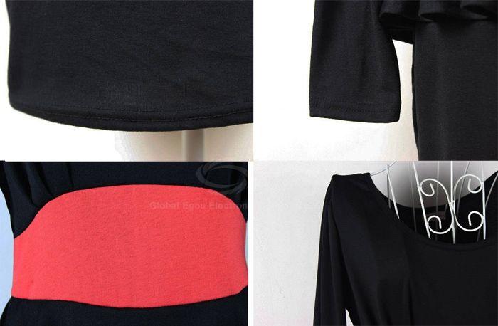 Delicate Scoop Neck Slimming Matching Color Waist Long Sleeves Women's Black Club Dress